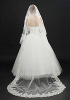 Wholesale New In Stock Vintage White Ivory Long Tulle Wedding Bridal Veil One Layer Applique Sequined Lace Wedding Veils