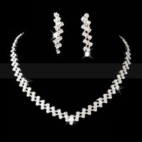 Wholesale New Arrival Fashion Crystals Rhinestones Shining Bridal Jewelry Necklace Earring for Wedding Pageant Bridal Accessories