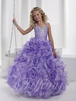Wholesale Princess New Ball Gown Spaghetti rhinestone beading Floor Length Flower Girl Pageant Dresses