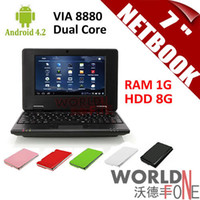 Wholesale Brand New inch quot Netbook Mini Laptop VIA8880 Dual Core PC Android GHz Wifi G RAM G HDD HDMI Russian Keyboard Option