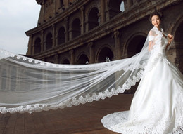 New Luxury High Quality White Ivory Long Lace Wedding Veils Long Bridal Veils With Lace Wedding Favor Veils Cheap In Stock Free Shipping