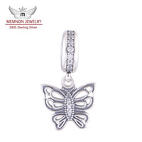 Charms yiwu 925 2014 New Arrival Butterfly Dangle Charms Pendant 925 Sterling Silver Fits European Bracelets Bangles Memnon Jewelry LW371