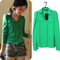 Wholesale S XL Plus Size Office Blouses New Autumn Korean Fashion Casual Green Pink Long Sleeve Shirt Women Hot Sale
