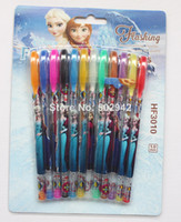 Wholesale New Arrive Product set Cartoon Frozen color cartoon students Glitter Pen Stationery