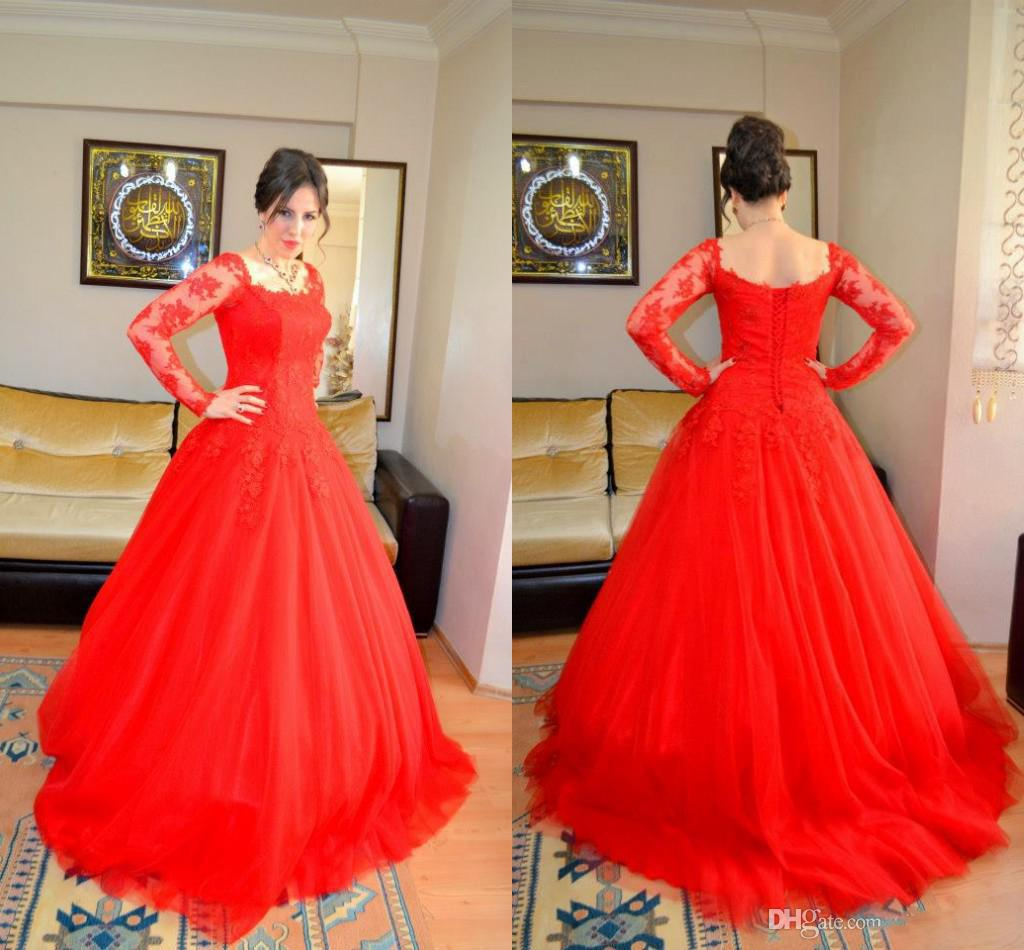 Bling 2014 new sheer church red wedding dresses lace up with long bling 2014 new sheer church red wedding dresses lace up with long sleeves long vintage vestidos bridal dress backless garden ball gowns sexy 2014 wedding ombrellifo Choice Image