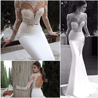 Trumpet/Mermaid Reference Images Bateau Berta 2014 New Sheer Illusion Bateau Open Back Applique Gold Sash Sweep Train Mermaid Backless Evening Dresses Bridal Gowns Hot Sale