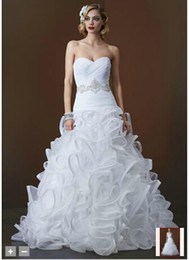 Wholesale Custom Made Sweetheart Ball Gown with Embellished Beading Waist and Ruffled Skirt Style SWG492 Wedding Dresses
