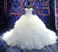Wholesale Sweetheart White Ball Gowns - 2016 Luxury Beaded Embroidery Bridal Gown Princess Gown Sweetheart Corset Organza Cathedral Church Ball Gown Wedding Dresses Cheap