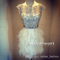 Reference Images formal cocktail dresses - Bling Upscale A Line Short Cocktail Dress Formal Gown Off the Shoulder Crystals Beading Bodice With Feather Skirt Sleeveless Stunning Hot