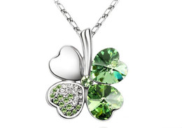 Green SWAROVSKI Elements Crystal Lucky Clover Pendant Chain Necklace Charms Necklace 10pcs
