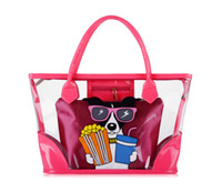 Wholesale Large Fashion women candy color Plastic transparent bag Clear beach bags printing shopping bag Tote Purse Brand Designer Colors