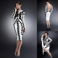 Wholesale New Arrival Sexy Sheath Knee Length White Lace Black Appliques Crew Neck Backless Long Sleeve Cocktail Dresses Open Back Evening Party Gowns