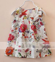 Wholesale 2014 Hot Sale Children Girls Fashion Lovely Sleeveless Tank Tops Peacock Floral Clothing Flower Beige Dark Blue Pure Cotton Small Vest E0542