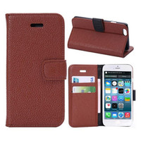 Wholesale Credit Card Holder Cases Kickstand Cover For Iphone I6 Litchi Grain PU Leather Wallet Pouch Case Folio Book Cases Money Pocket Holster DHL
