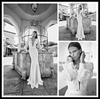 Model Pictures bead sellers - Hot Seller Ivory Mermaid Summer Beach Wedding Dresses Chiffon Lace Long Sleeves Bridal Dress Sweep Train Beach Wedding Gowns Liz Martinez