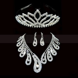 Wholesale 2014 Best Selling Charming Wedding Bridal Bridesmaids Rhinestone Necklace Earrings Crown Jewelry Set