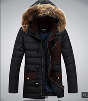 Cheap men's long length down jacket malle casual warm down parkas hooded fur collar coat winter 2014 down parka