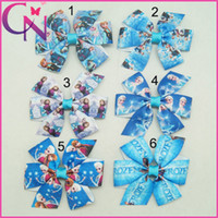 poylester alligator clips - 12Pcs quot Baby Frozen Bows With Alligator Clips Cute Mini Pinwheel Frozen Bow Handmade Ribbon Hair Bow CNHBW