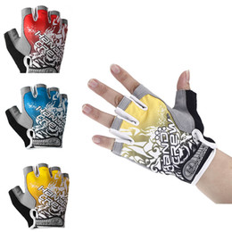 Wholesale New Outdoor Sports Men s Half Finger Gloves Road Bicycle Bike Racing Riding Motor Cycling Gloves Size M L XL Yellow Red Blue H11384
