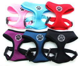 Dog Control Harness with Paw Rubber Soft Mesh Walk Collar Safety Strap Vest 6 colors 5 sizes available