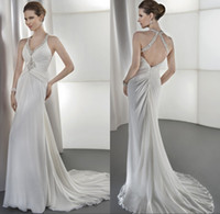 A-Line Reference Images Halter 2015 Charming Beaded V Neckline A Line Long Chiffon Wedding Dress Sweep Train 2014 Backless Summer Beach Bridal Gown Criss Cross Straps