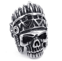 Band Rings american indian tribes - New Arrival Mens L Stainless Steel Cool Tribe Indians PUNK Gothic Style Cool Skull Silver Ring Guarantee