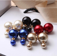 Wholesale 8 Colors Elegant Noble Pearl Earrings Double Sides Pearl Stud Earrings Fashion Women Accessories