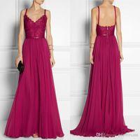 Spaghetti Straps elie saab - Vintage Grape A Line Spaghetti Straps Sweep Train Lace Waist Chiffon Evening Prom Dress Elie Saab Dress