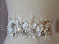 flower appliques lace - 2015 New Handmade Flowers Bridal Sash Belt High Quality Lace Appliques Fashion Wedding Accessories Bridal Gown Cheap W20140036
