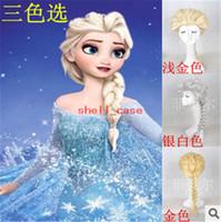 Wholesale Frozen Princess Cartoon Girl Hair Wig Children Cosplay Wigs Elsa Anna White Light Gold Fluffy Long Hair Single Plait Ponytail