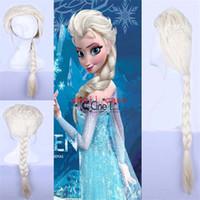 Wholesale DHL Frozen Princess Cartoon Girl Hair Wigs Children Cosplay Wigs Elsa Anna Princess White Light Gold Fluffy Long Hair Single Plait Ponytail