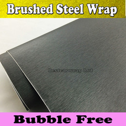 Wholesale Dark Grey Metallic Brushed Steel Vinyl Film Car Wrap Sticker Gunmetal Brushed aluminum Film Vehicle Wrap Air Bubble Free x30M Roll