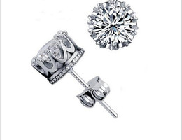 Wholesale New Fashion CT Crystal Sterling Silver Plating White GOLD Crown Wedding Stud Earring M1070