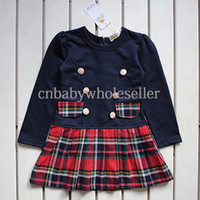 Wholesale 2014 Chirstmas Girls Dress Red Top Grid Dresses College Style Cotton Kids Wear Child Apparel GD40714