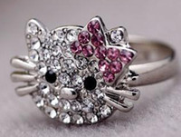 Wholesale 60pcs adjusted size cat ring cluster ring engagement rings Fashion Jewellery factory price