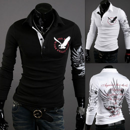 Wholesale 2014 European Style Eagle Tattoo Printing Slim Long sleeved POLO Shirts Lapel