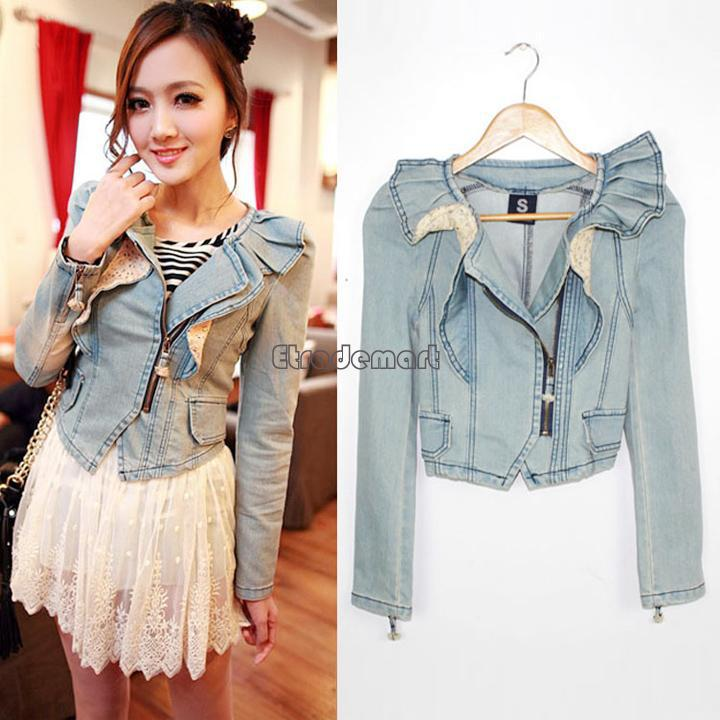 Korea Design Women Casual Denim Jacket Distressed Crop Denim Jean ...
