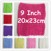 Headwear Yes Solid 6pcs lot 2014 Chic Cute colored Baby Girl 9 Inch Crocheted Tube Tops Kids Crochet Chest Wraps wholesale H018