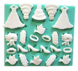 Wedding Dresses Cakes High-heeled Shoes Silicone Fondant Cake Molds Soap Chocolate Mould For Baby Shower And Wedding from silicone mould soap cake baby suppliers