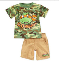 Boy Summer Short Kids' Clothes Sets camouflage Boys' Suits Baby T-shirts Tees Short pants ninja turtle Children's Outfits trousers TB03