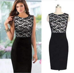 New Fashion Womens Laies Female Empire Vintage Crochet Lace O neck Bodycon Fitted Shift Summer Party Patchwork Pencil Dress