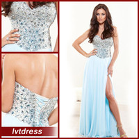 Wholesale Long Light Sky Blue Prom Dresses Evening Gowns A Line Sweetheart Floor Length Chiffon Beads Crystal Sequined Split Side Sexy