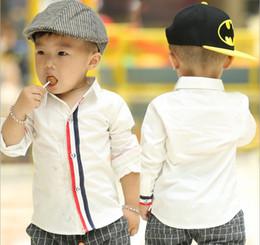 Wholesale children clothes fall autumn kids clothing boys long sleeved cotton thread color bar juxtaposition T shirt dandys