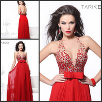 Reference Images Floor-Length Chiffon 2014 Fashion Long Red Gorgeous Party Dresses Cheap Chiffon Popular With Young Girls Like V-neck Beads Bow Sash Made In China Backless New XF