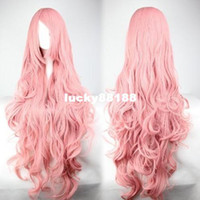 Wholesale YouYAnime cosplay wig pink long curly hair volume air temperature wire wig