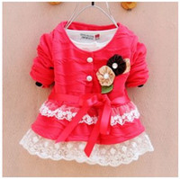Tench coats Girl Turn-down Collar 2014 Autumn Style Little Children Korean Style Beautiful Lace Jackets Girls Fashion High Quality Jackets