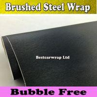 Whole Body aluminum sheet rolls - Brushed Aluminum Black Steel Vinyl Wrap Metallic Black Car Wrap Film meta black sheets Car sticker With Air Bubble Free x30M Roll