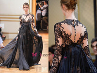 Reference Images High Neck Chiffon 2014 Zuhair Murad Fashion Black Sheer Evening Dresses Long Sleeve Prom Gowns A Line Lace Applique Cheap Covered Button Pageant Dresses