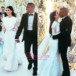 Wholesale Kim Kardashian Wedding Dress Mermaid Chapel Train Long Sleeve See Through High Neck Wedding Gown Applique Vestido De Novia Custom Made