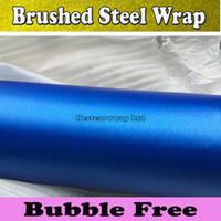 Carbon Fiber Vinyl Film air brush car - Metallic Blue Brushed Aluminum Steel Vinyl For Car Wrap Brushed Film Foile Vehicle Cover Air Bubble Free x30M Roll